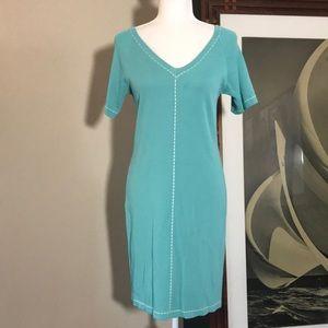 BIANA Turquoise Blue Short Sleeve Sweater Dress